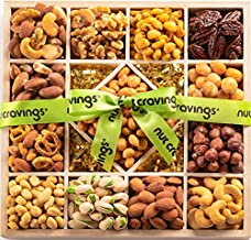 Gourmet Nut Gift Basket in Wooden Tray + Green Ribbon (13 Piece Assortment) - Prime Arrangement Platter, Birthday Care Package Variety, Healthy Food Kosher Snack Box for Families, Women, Men, Adults