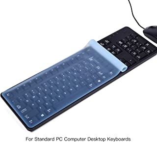 Universal Computer PC Keyboard Cover for Standard Size Desktop Keyboards, CASEBUY Ultra Thin Waterproof Anti-Dust Flat Silicone Protector Skin(Size: 17.52