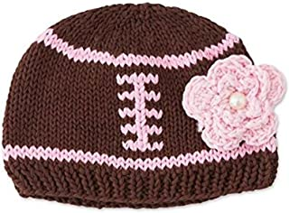Baby Girls Brown Knit Football Hat With Pink Flower and Stitching