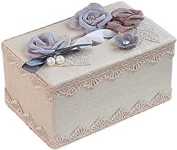 Tissue Doos Stof Tissue Box Cover Luxe Kant Facial Tissue Box Houder Cover, servet Dispenser voor badkamer Vanity Countert...