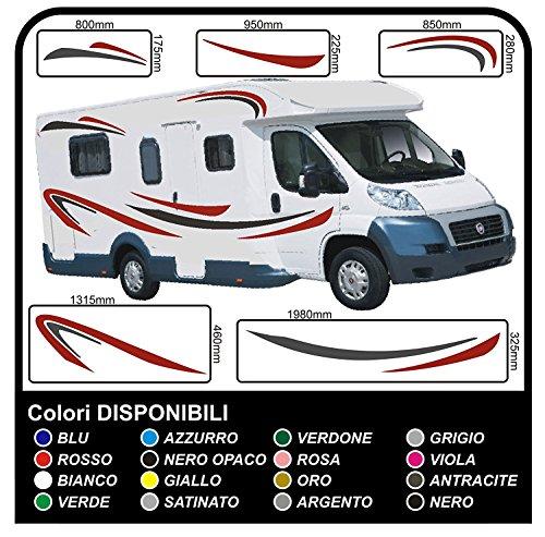 Pegatinas Camper-kit completo-vinilo pegatinas para gráficos calcomanías caravana x 18 pegatinas kit completo con pegatinas para autocaravanas gráficos 04 (COLORES COMO EN FOTOS)