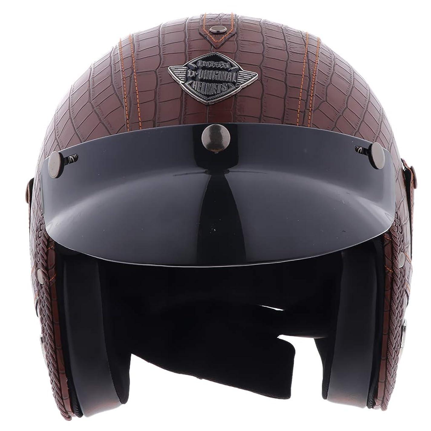偽造ライター式Perfeclan 半帽 ヘルメット バイク オートバイ 人工皮革 調節可能ストラップ 多種選べる - M-ブラウン+ブラック