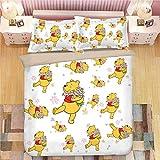 POMJK Pooh Bear Bedding Set Duvet Cover 2 Pillow Cases Winnie the Pooh 100% Microfibre 3D Digital Print Children's Anime Bed Linen (A01, Single 140 x 210 cm + (80 x 80 cm) × 2)