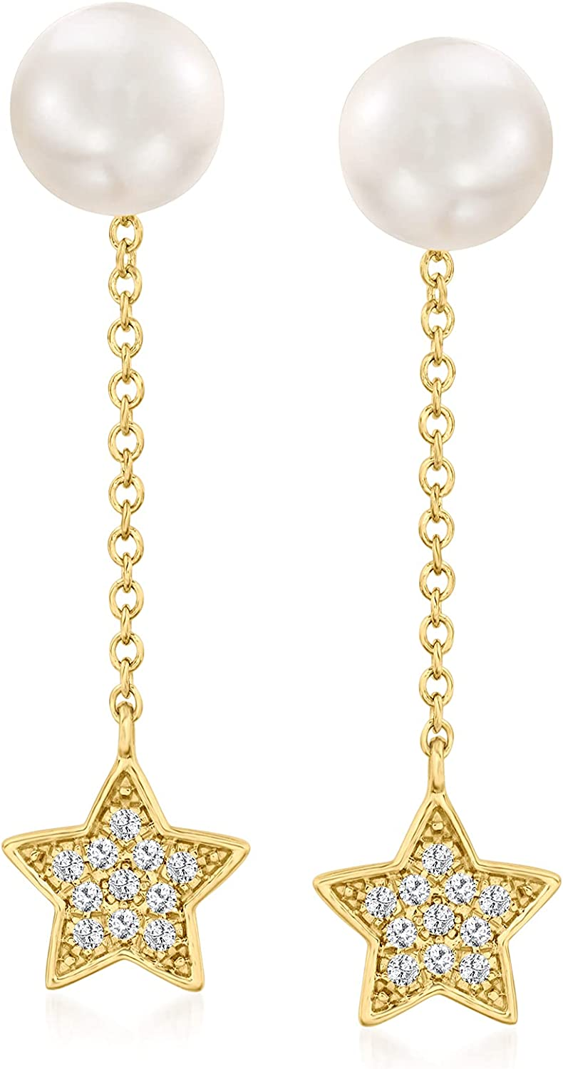 Ross-Simons 7mm Cultured Pearl Removable Star Drop Earrings With .11 ct. t.w. Diamonds in 14kt Yellow Gold