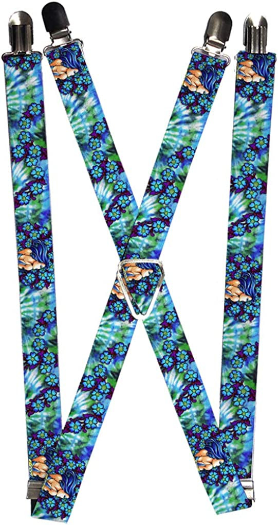 Buckle-Down Men's Suspender-Tattoo Johnny Blue Hair, Multicolor, One Size