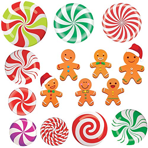 Happy Storm Peppermint Cutouts Gingerbread Cutouts 15PCS Christmas Candy Land Theme Classroom Decorations School Christmas Cutouts Cardboard Winter Bulletin Board Decorations