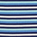Rippenstrick Viskose Bunte Streifen – türkis/blau —