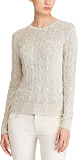 Ralph Lauren Polo Metallic Cable Knit Fashionable Sweater Taupe Size L