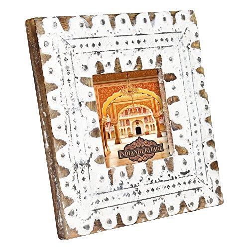 Indian Heritage Bilderrahmen, Holz, 10 x 10 cm, Dunkles Mangoholz, Weiß