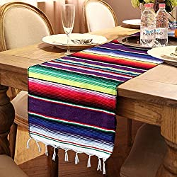 Image: OurWarm 14 x 84 inch Mexican Serape Table Runner for Mexican Party Wedding Decorations, Fringe Cotton Table Runner