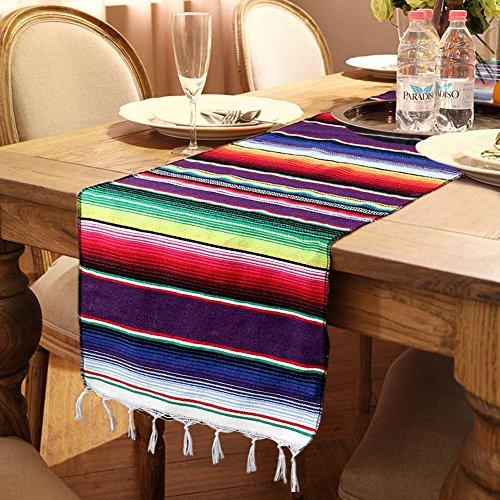 Aerwo - Chemin de table Serape mexicain - 35,6x 213,4cm - Coloré - A franges rayées - En coton - Pour les décorations de fête mexicaines, Coton, beige, 1 pièce