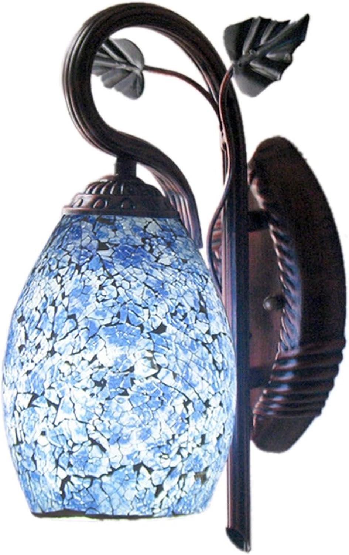 XZG Innenwandleuchte, kreatives blaues Muster-Eisen-Fertigkeit-Krper-Retro- Art-Schlafzimmer-Wohnzimmer-Kaffeestube-Restaurant-Technik-Wand-Licht-einzelner Kopf E27 34  19.5CM Wandleuchte