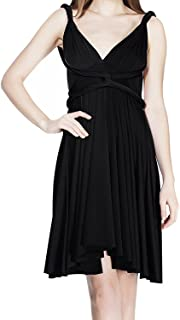 Women's Convertible Multi Way Transformer Wrap Dress Solid Cocktail Evening Party Gown Homecoming Short Prom
