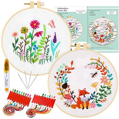 Caydo 2Pack Stick Starter Kit, Stickerei Set mit Anweisungen, Kreuzstich Kits mit 2 Stickereien mit floralen Tiermustern, Stickrahmen, Farbfäden und Werkzeugen