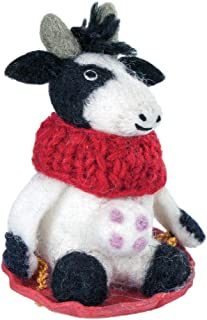 Wild Woolies Bessie The Cow Felt Holiday Ornament