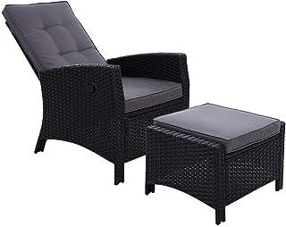 Gardeon Sun Lounge Recliner Chair Wicker Lounger Sofa Day Bed Outdoor Furniture Patio Garden Cushion Ottoman Black Garden