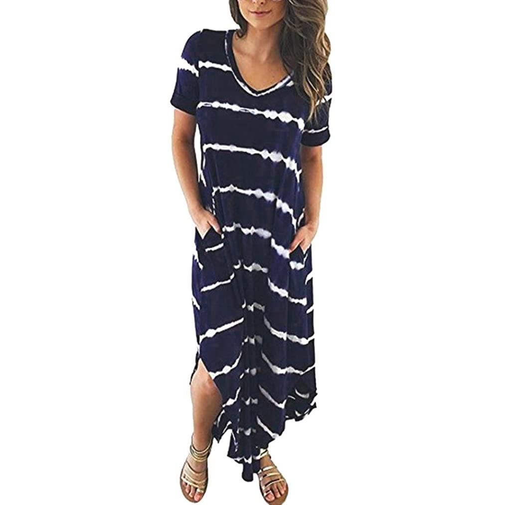FEITONG Women's Casual Striped Maxi Short Sleeve Split Tie Dye Long Dress with Pocket