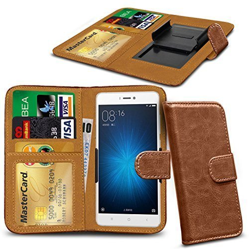 N4U Online® Clip Serie Kunstleder Brieftasche Hülle für Allview P8 Energy Mini - Braun