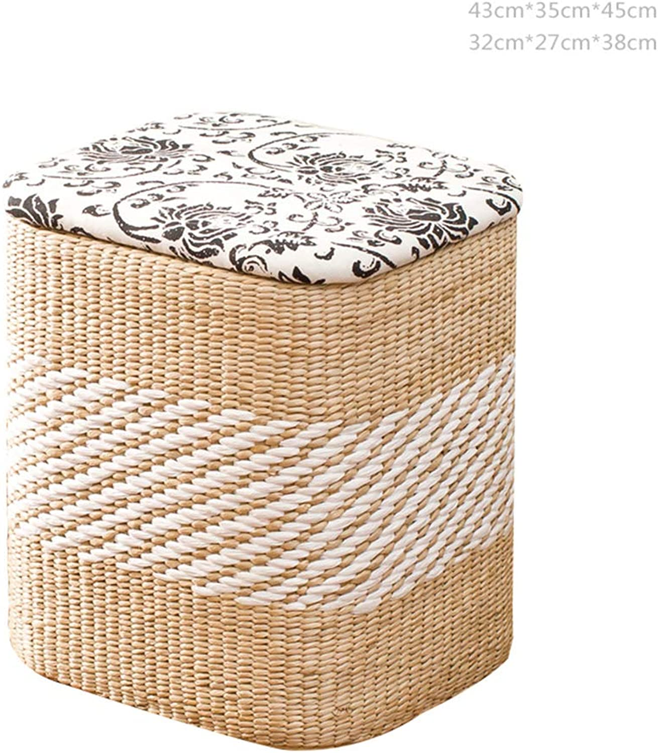 ZHAOYONGLI Stools Footstool Step Stool Vine Straw Storage Sort Out Covered Wholesale Footrest Sofa Can Sit Toy Creative Solid Durable Long Lasting (color   A-Square-Cloth, Size   S)