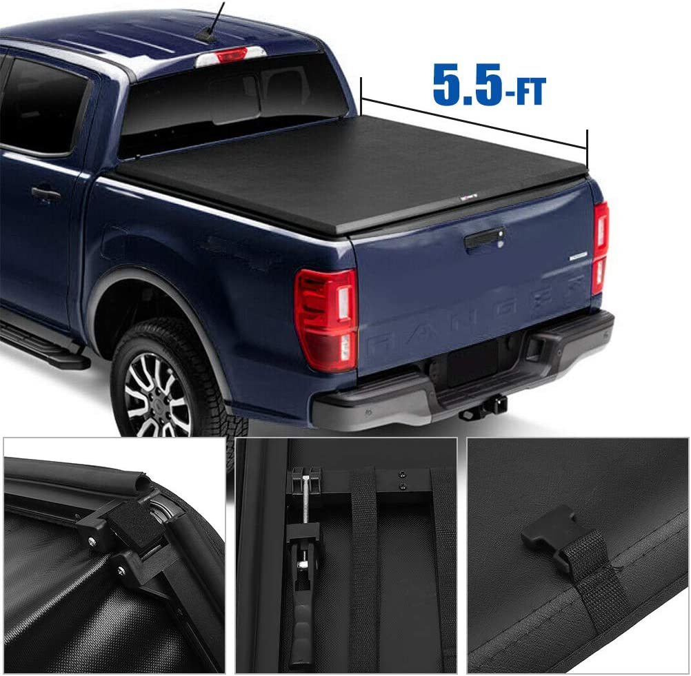 FEIPARTS Tonneau Cover Soft Tri-Fold for Sales results No. 1 Kit Tun Truck Max 76% OFF Bed
