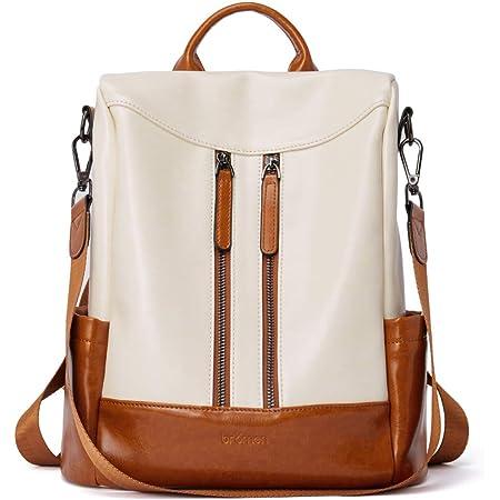 BROMEN Rucksack Damen Anti Diebstahl Rucksack Damenrucksack aus Leder Rucksackhandtasche Tagesrucksack für Frauen, Beige mit Braun
