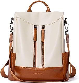 BROMEN Rucksack Damen Anti Diebstahl Rucksack Damenrucksack aus Leder Rucksackhandtasche Tagesrucksack für Frauen, Beige m...