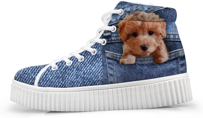 Trendy Women's High Top Fashion Sneaker bluee Denim Lightweight Platform shoes US 10