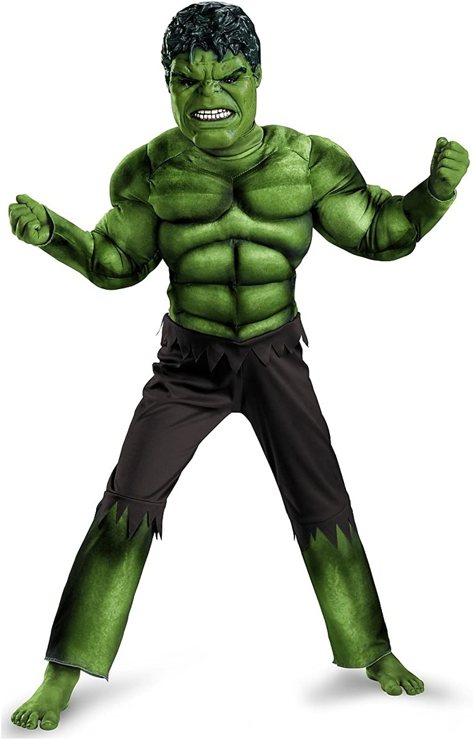 Disguise Avengers Hulk Classic Muscle Costume Green Brown