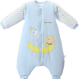 Bebé Saco de Dormir Invierno para Niños Niñas Manga larga Algodón Pijama Mamelucos Mono Traje de dormir 4-5 años,azul