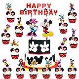 BAIBEI 25Pcs Mickey Cake Topper, Decorazioni Torta Paperino e Baby Shower Forniture per la Decorazione della Torta della Festa di Compleanno, Cake Topper