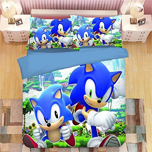 SK-YBB Funda Nórdica Sonic The Hedgehog Anime Algodón Funda Edredón Microfibra Cómodo Transpirable Juego Ropa De Cama Sonic Detective Sonic Hedgehog Fundas De Almohada (B27,135 x 200 cm-Cama 90cm)