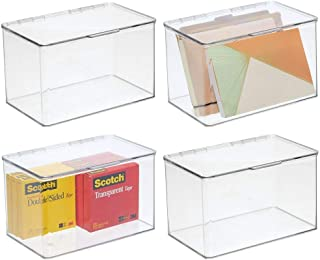 mDesign Plastic Stackable Home, Office Supplies Storage Organizer Bin Box with Attached Lid - Holder Container Bin for Note Pads, Gel Pens, Staples, Dry Erase Markers, Tape, 4 Pack - Clear