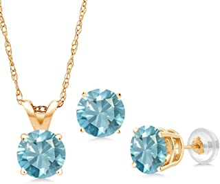 Gem Stone King 3.60 Ct Round Blue Zircon 14K Yellow Gold Pendant Earrings Set With Chain