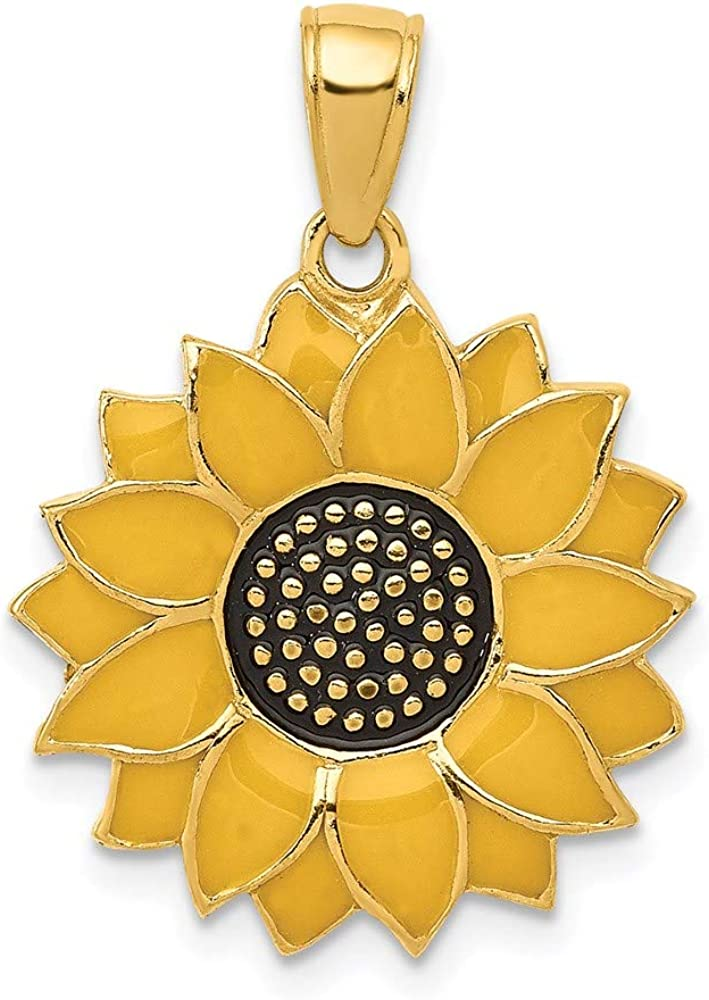 14k Yellow Gold Enameled Sunflower Pendant Charm Necklace Flower Gardening Fine Jewelry For Women Gifts For Her