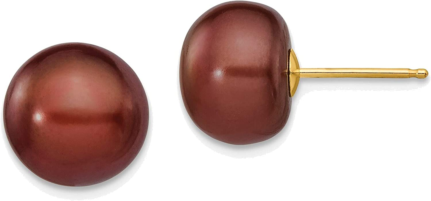 9-10mm Coffee Button Freshwater Cultured Pearl Stud Post Earrings in 14K Yellow Gold
