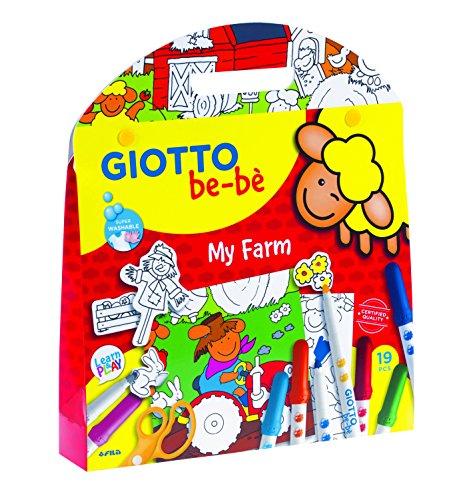 Giotto be-bè My Farm - Set con 12 rotuladores, 1 escenario, 25 pegatinas removibles y 1 tijeras de plástico
