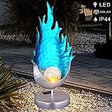 LED Außen Solar Flammen-Design Stehleuchte Stand Lampe Weg-Beleuchtung Metall-Blau Crackle-Glas Feuer-Effekt Höhe 36,5cm Garten Veranda Hof Weg Terrasse