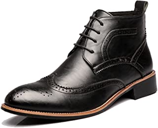 Casual shoes. Men's Brogue Shoes Lace Up Breathable Oxfords High Top Ankle Boots For Gentlemen (Color : Black, Size : 5.5 UK)