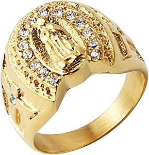 HZMAN 18k Gold Plated Stainless Steel Guadalupe Virgin Mary CZ Horseshoe Ring