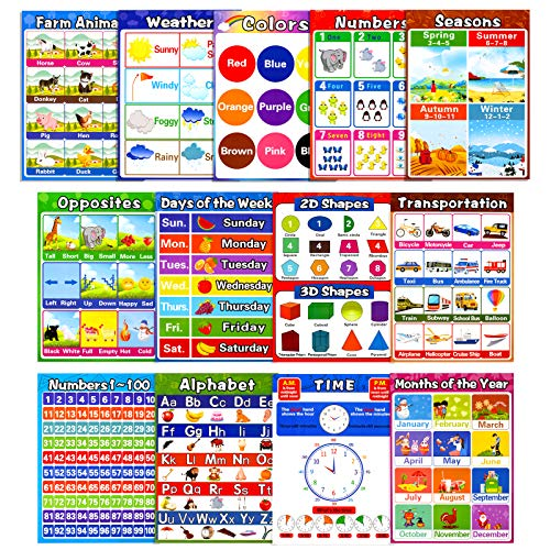 Educational Preschool Posters for Kids Toddlers, Laminated Early Learning Charts Set with Tape for Nursery Homeschool Kindergarten Classroom Teach Alphabet Numbers Shapes Time and More (13Pack)