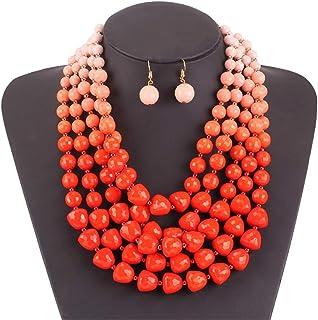 Women's Jewelry Set Women Jewellery Resin Bright Tone Layered Stone Beaded Statement Chunky Collar Women Neckle And Earrin...