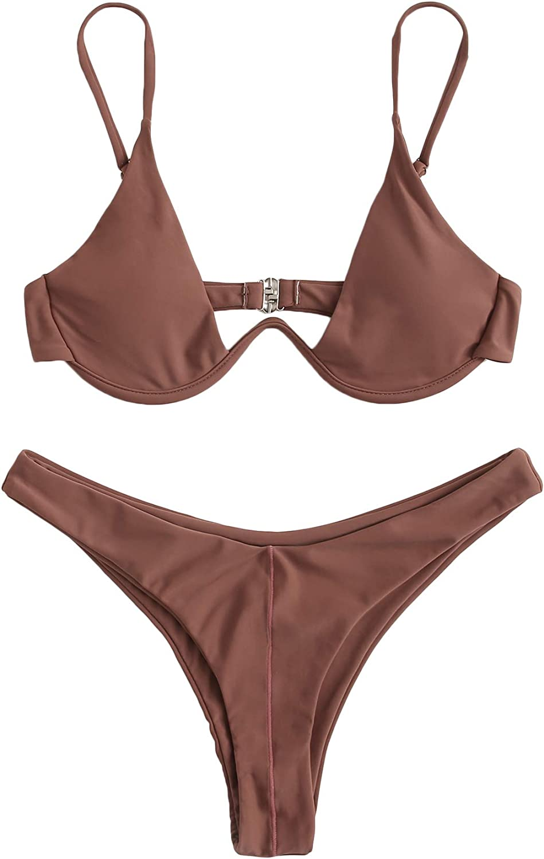 SheIn Women's Sexy Push Up Spaghetti Strap Underwire High Leg Swimsuits Bikini Set