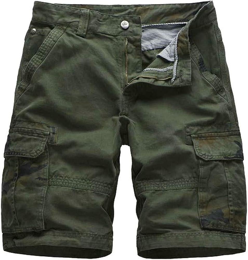 Ffox Mens Printing Casual Cotton Multi-Pocket Cargo Shorts