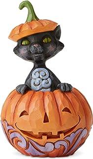 Enesco Jim Shore Heartwood Creek Halloween Cat in Pumpkin Miniature Figurine, 4.1 Inch, Multicolor