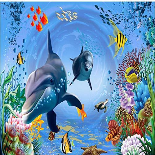 Pbbzl 3D-behang Underwater World Aquarium kinderen huis achtergrond muursticker slaapkamer behang gepersonaliseerd lobby muur 280x200cm