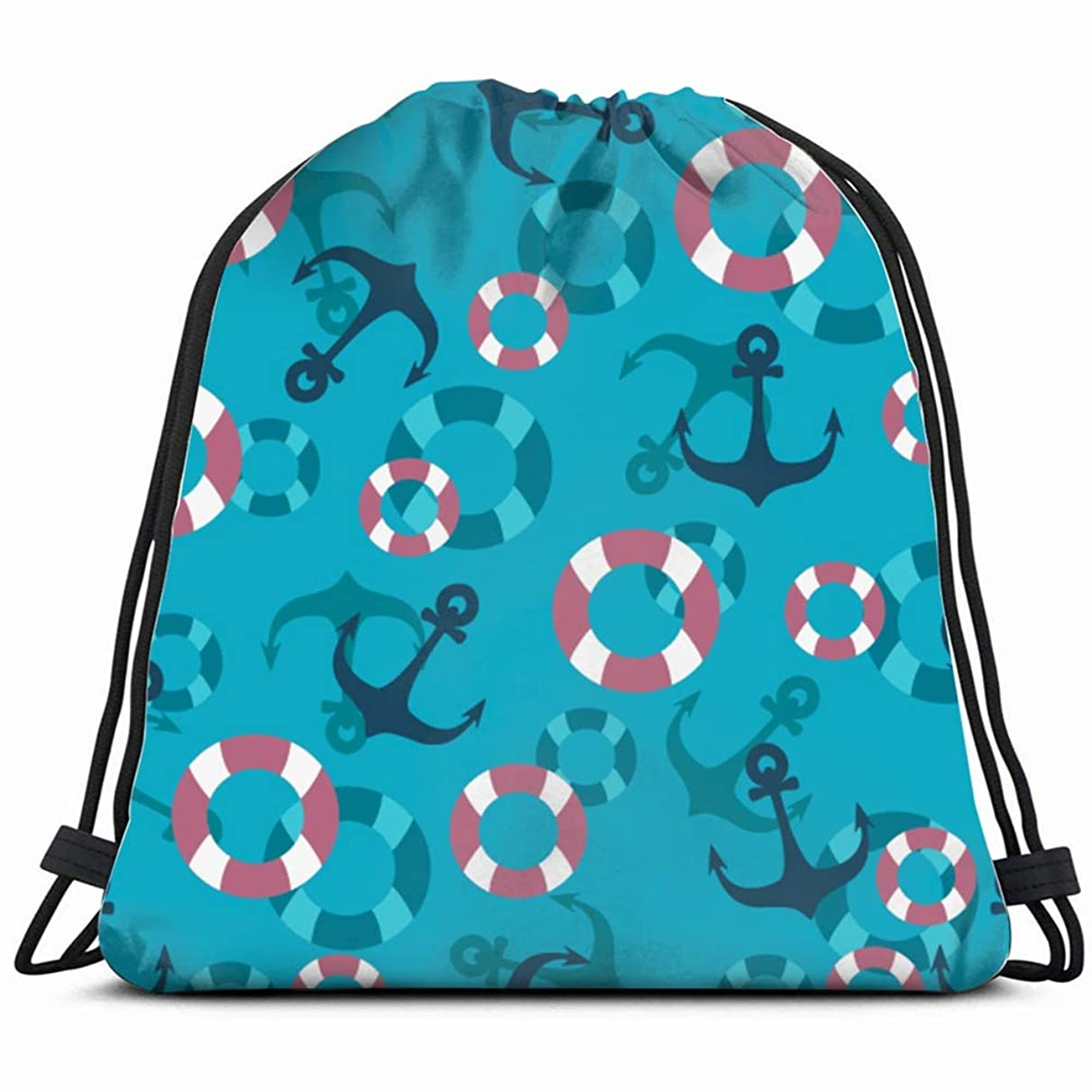 anchors buoys marine style anchor objects Drawstring Backpack Gym Sack Lightweight Bag Water Resistant Gym Backpack for Women&Men for Sports,Travelling,Hiking,Camping,Shopping Yoga