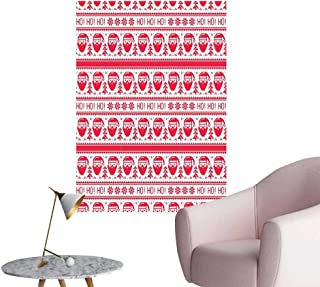Nordic Waterproof Art Wall Paper Poster Ho Ho Ho Christmas Illustration with Santa with Full Beard Cross Stitch Pattern Room Bedside Scarlet White W24 x H36