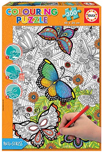 Educa Borras - Serie Colouring Puzzle, Puzzle para colorear, 300 piezas All good things are wild and free