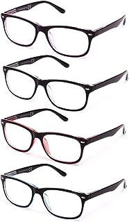 comprar comparacion Pack de 4 Gafas de Lectura Vista Cansada Presbicia, Gafas de Hombre y Mujer Unisex con Montura de Pasta, Bisagras de Resor...