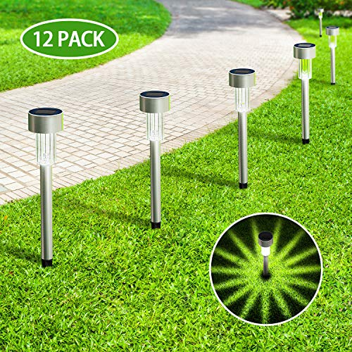 12Pack Solar Lights Outdoor, KOOPER Stainless Steel Solar Pathway Lights Outdoor - Waterproof, LED Landscape Lighting Solar Powered Outdoor Lights for Pathway Patio Yard & Lawn-Cool White